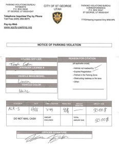 Example of fraudulent parking tickets being circulated in St. George, Utah | Image courtesy of St. George Police Department, St. George News