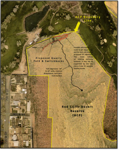 Map of a possible alignment of the proposed Quarry Trail in the Red Cliffs Desert Reserve, south of and adjacent to the Red Hills Golf Course | Image courtesy of HCP Advisory Committee, St. George News