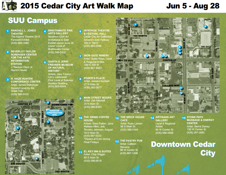 Cedar City Art Walk map | Image courtesy of Cedar City Arts Council, St. George News