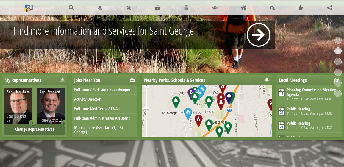 The updated Utah.gov website allows you to filter services by your own region. June 2015 | St. George News screenshot