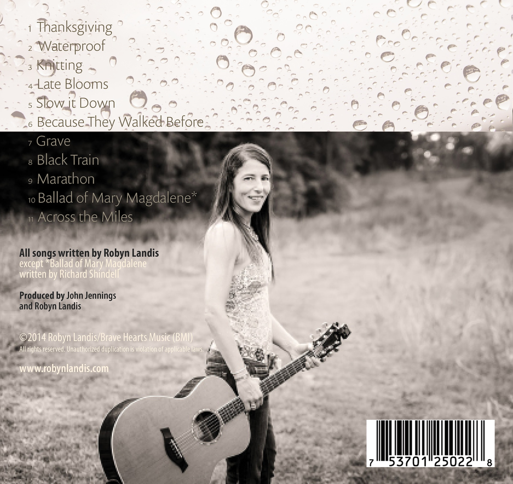 "Back cover of Robyn Landis' third CD, ""Waterproof,"" produced in 2014 