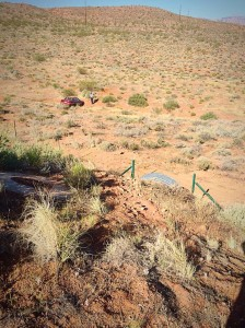The spot where a man's car launched through the air after leaving the roadway on Red Hills Parkway, St. George, Utah, June 16, 2015 | Photo by Kimberly Scott