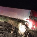 A semitractor-trailer went off the road on I-15, near milepost 41, when the driver attempted to avoid hitting a deer.  The driver survived without any reported injuries; the deer was struck and killed. New Harmony, Utah, June 29, 2015 | Photo by Jessica Tempfer, St. George News