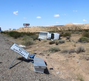 Fatal rollover near Mesquite, Nevada, June 6, 2015 | Photo courtesy of Nevada Highway Patrol, St. George News