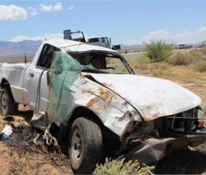 Fatal rollover near Mesquite, Nevada, June 6, 2015   Photo courtesy of Nevada Highway Patrol, St. George News