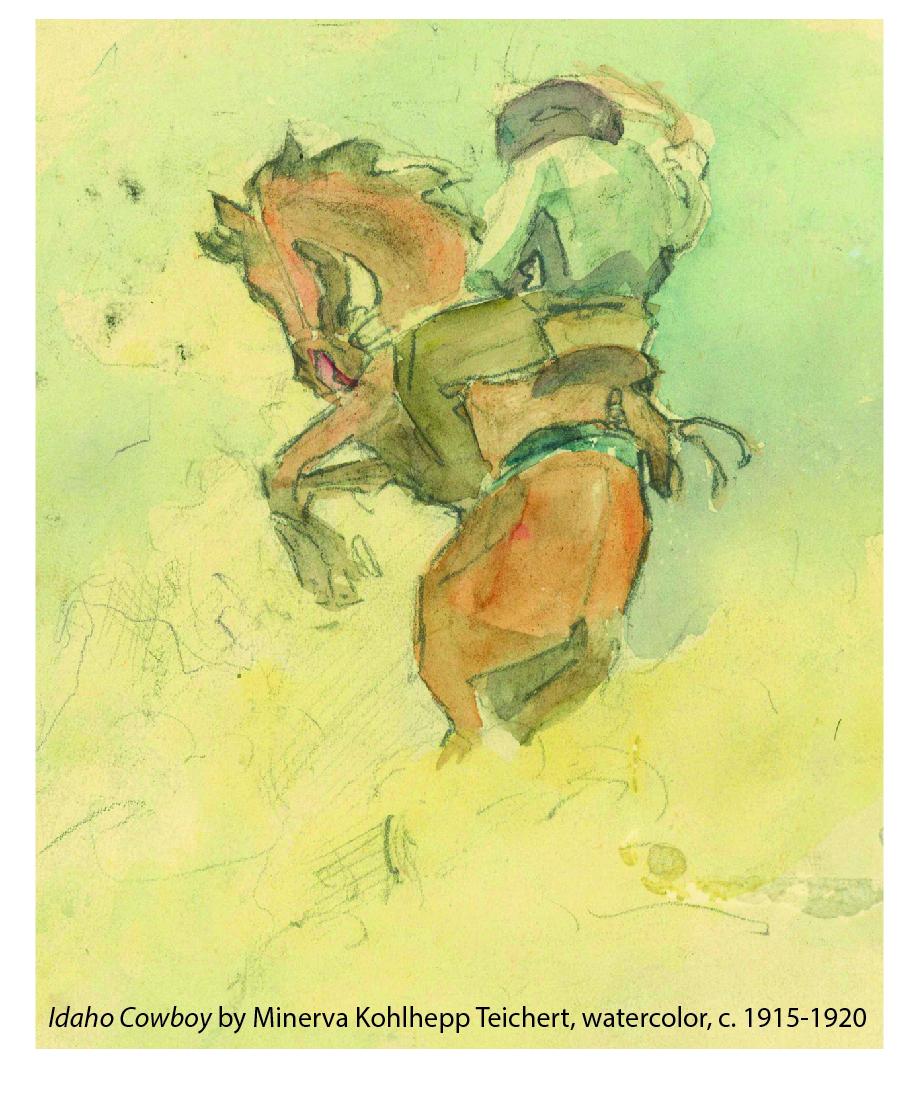 """Idaho Cowboy"" by Minerva Kohlhepp Teichert, watercolor, c. 1915-1920 | Photo of watercolor courtesy of St. George Art Museum, St. George News"