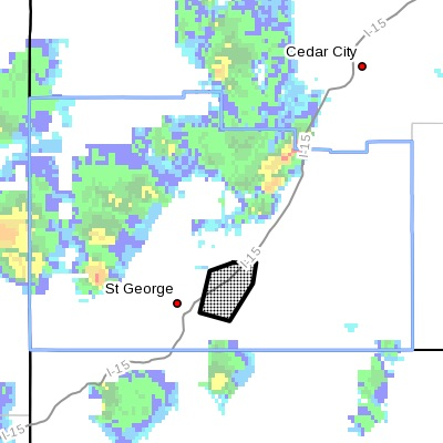 Dots indicate the area affected by the flood warning, June 5, 2015 | St. George News