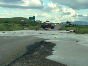 Flooding temporary closes Highway 91 in Enoch, Utah, June 10, 2015   Photo courtesy of Leisa Jaime, St. George News