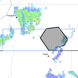 Dots indicate the area subject to the flood warning, 11:40 p.m., Southern Utah, June 5, 2015   Photo courtesy of National Weather Service, St. George News   Click image to enlarge