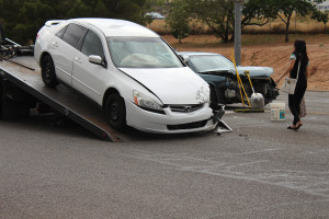 A two-car collision caused traffic to be rerouted at the intersection of Red Cliffs Drive and Mall Drive, St. George, Utah, June 5, 2015 | Photo by Nataly Burdick, St. George News
