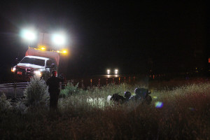 A man was taken to the hospital in critical condition after crashing his bike on Interstate 15, New Harmony, Utah, June 26, 2015   Photo by Nataly Burdick, St. George News