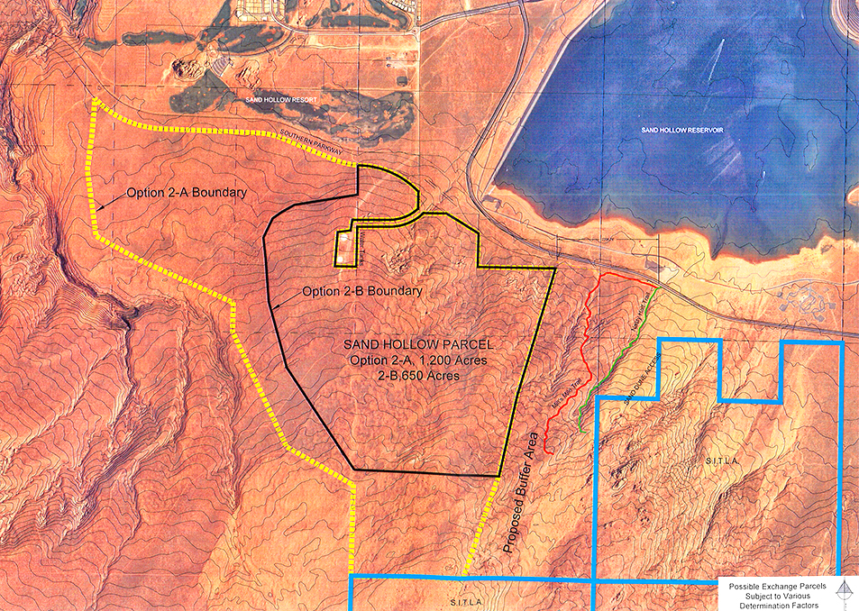 Map of an area proposed for Bob Brennan's exchange in Sand Mountain Recreation Area, presented to the Habitat Conservation Plan committee meeting June 23, 2015 | St. George News