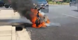 Scooter engulfed in flames on Tabernacle Street near 800 East, St. George, Utah, June 27, 2015 | Photo courtesy of Adam Roettger, St. George News