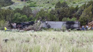 A semitrailer driver is dead after crashing on Interstate 70 near Cove Fort, Millard County, Utah, June 14, 2015 | Photo courtesy of the Utah Highway Patrol, St. George News