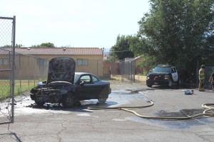 Vehicle fire in LaVerkin, Utah, June 24, 2015 | Photo by Nataly Burdick, St. George News