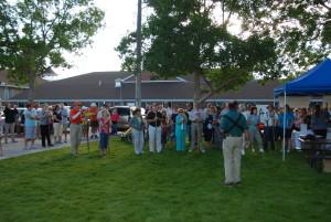 Walkers gather to hear Mayor Lee Bracken before the first Walk Washington County event, Enterprise, Utah, undated   Photo courtesy of Intermountain Healthcare, St. George News