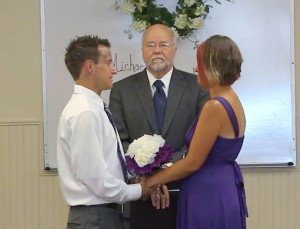 Judge James L. Shumate officiates at the wedding of Michael Deuel and Crystal Campbell at the Switchpoint Community Center, St. George, Utah, June 8, 2015 | Photo by Ric Wayman, St. George News