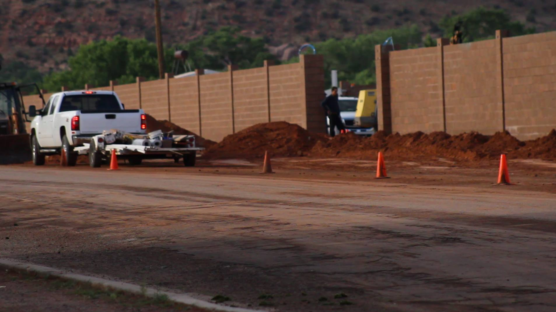 Wall nears completion on July 4 surrounding the Leroy S. Johnson meeting house of the FLDS Church, Colorado City, Arizona, July 4, 2015 | Photo by Nataly Burdick, St. George News