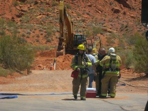 Firefighters and first responders at the scene of a natual gas leak, Ivins, Utah, July 16, 2015 | Photo by Ric Wayman, St. George News