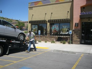 A car runs into Taco Bell on St. George Boulevard, St. George, Utah, July 17, 2015 | Photo by Ric Wayman, St. George News