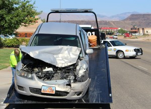 An accident on 1450 South caused only minor injuries, St. George, Utah, July 9, 2015 | Photo by Ric Wayman, St. George News