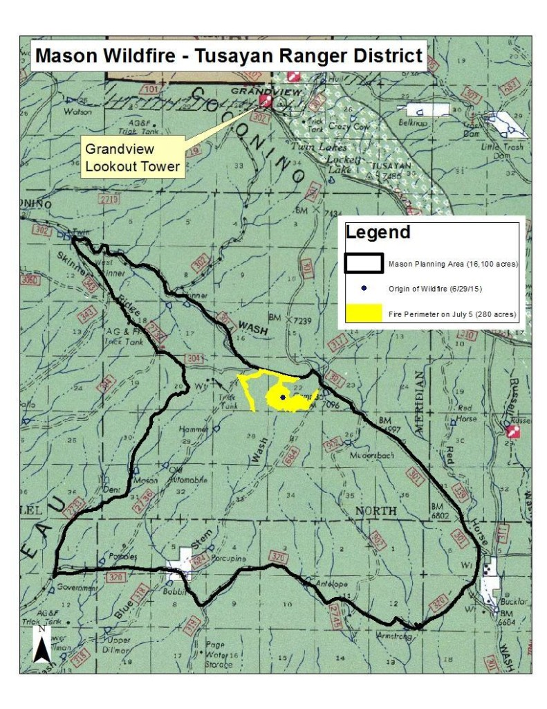 Map of the Mason Fire | Image courtesy of Kaibab National Forest Public Affairs Officer Jacqueline C. Banks, St. George News