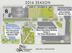 Graphic and map of the 2016 season at the Utah Shakespeare Festival | Image courtesy of the Utah Shakespeare Festival
