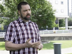 Jeremy Alcede talks about his legal issues outside the federal courthouse in Houston. Alcede spent nearly seven weeks in jail for refusing a judge's order to share his social media passwords with the new owner of the business he lost in bankruptcy, June 5, 2015 | AP Photo by Pat Sullivan, St. George News