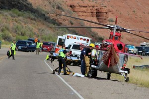 Two people were injured in head-on collision on SR-9 just outside of Zion National Park, Virgin, Utah, July 19, 2015 | Photo by Ric Wayman, St. George News