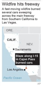 Map locates Cajon Pass in California   Photo courtesy of the Associated Press, St. George News