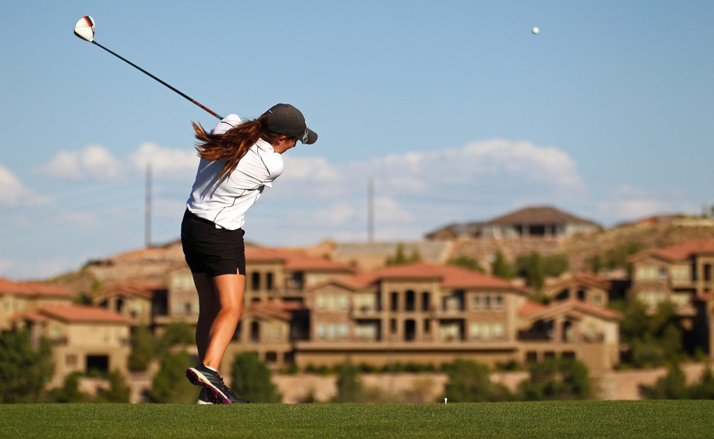 Kyla Smith tees off, City of St. George JAG summer golf tournament, St. George, Utah, July 16, 2015, | Photo by Robert Hoppie, ASPpix.com, St. George News