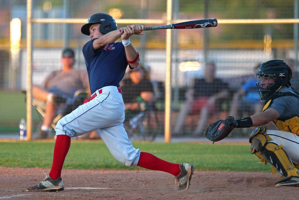 Tyler Johnston at the plate for the Sentinels, St. George Sentinels vs. Desert Hills Thunder, Baseball, St. George, Utah, July 22, 2015, | Photo by Robert Hoppie, ASPpix.com, St. George News