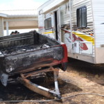 A trailer and 4-wheeler were burnt severely in a fire, Cedar City, Utah, July 31, 2015 | Photo by Emily Hammer, St. George News