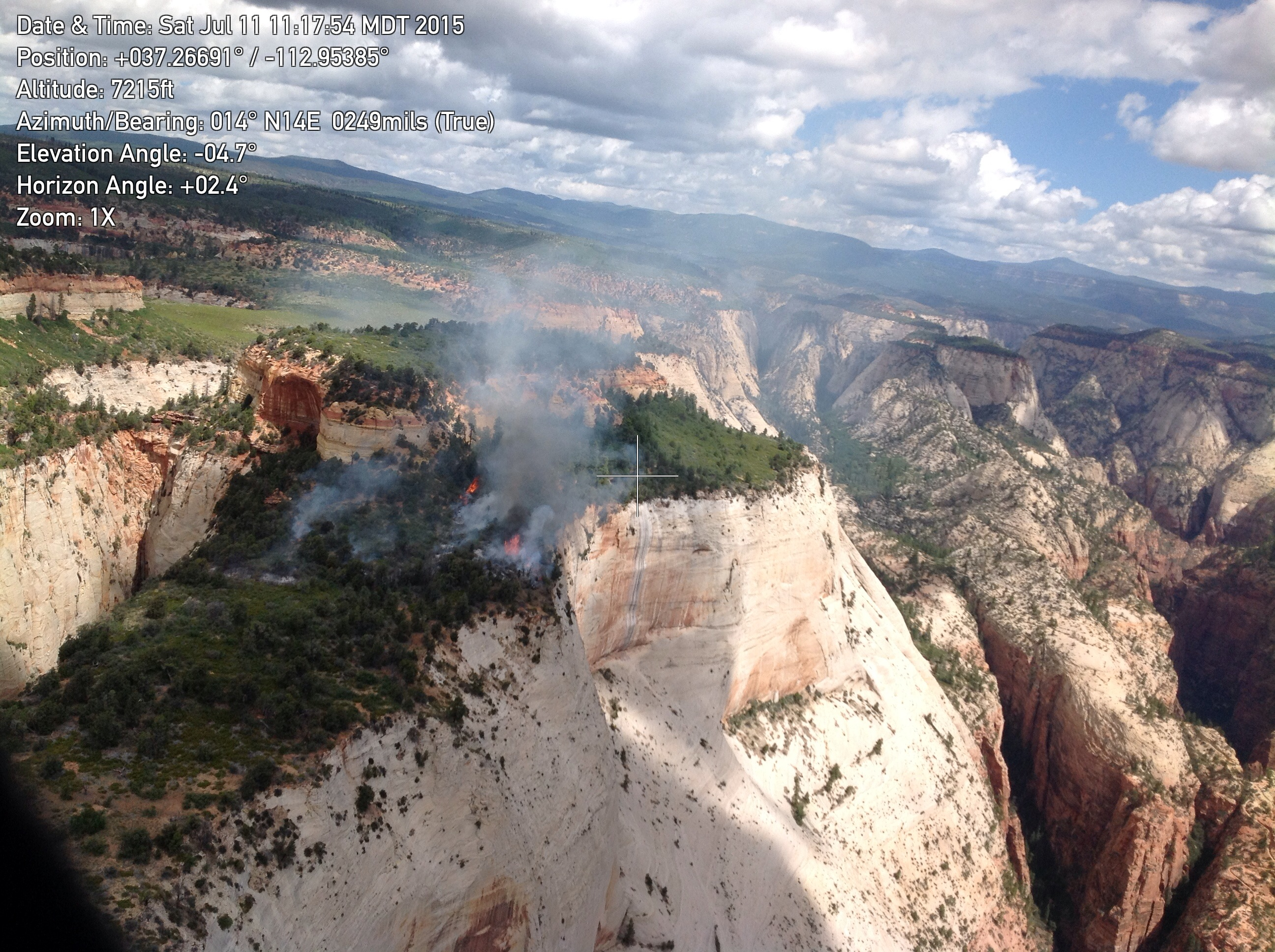 Cathedral Fire, started by lightning on July 9 in Zion National Park, Utah, July 11, 2015 | Photo courtesy of Zion National Park, St. George News