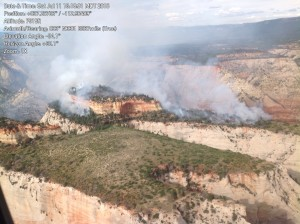 The Cathedral Fire is burning atop a mesa at Zion National Park, Utah, July 11, 2015 | Photo courtesy Zion National Park