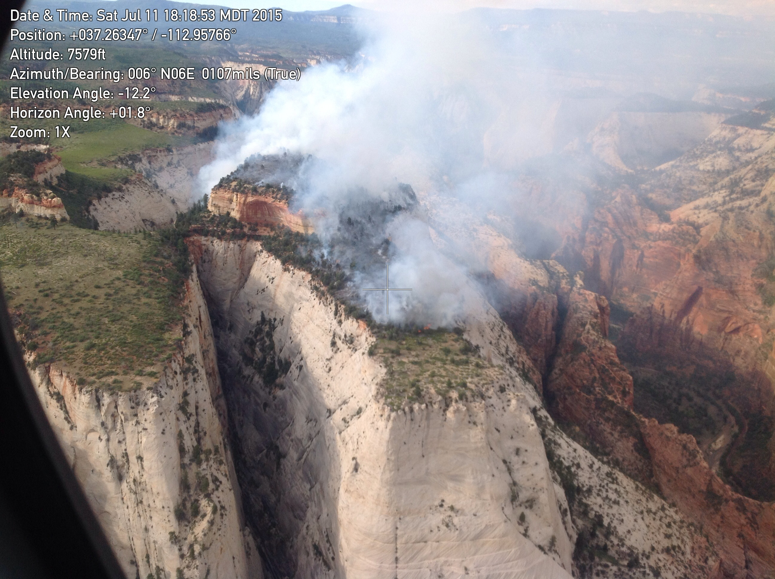 Cathedral Fire, started by lightning on July 9, in Zion National Park, Utah, July 11, 2015 | Photo courtesy of Zion National Park, St. George News