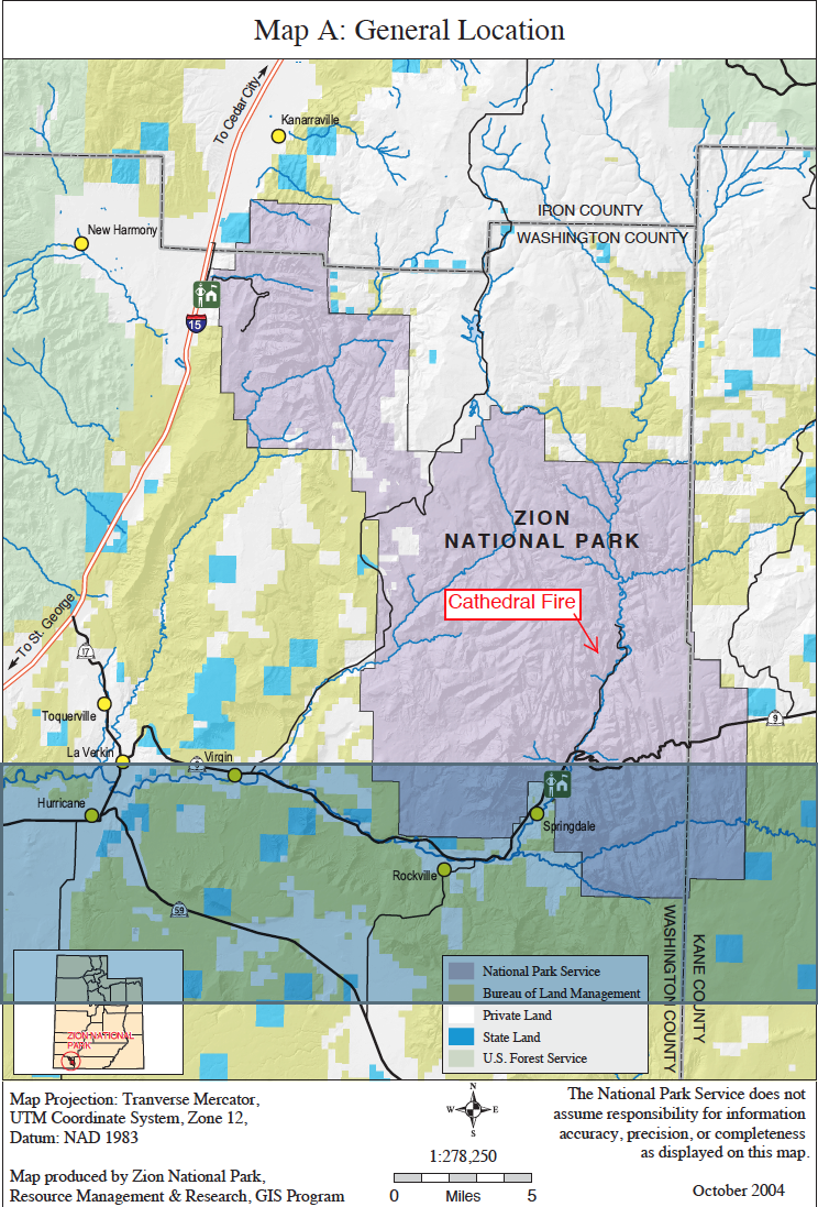 Map indicating location of Cathedral Fire, started by lightning in Zion National Park, Utah, July 9, 2015 | Map courtesy of Zion National Park, St. George News