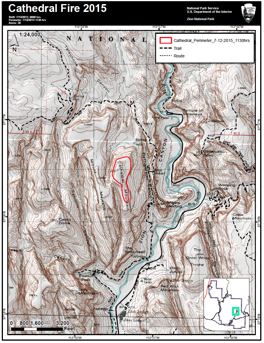 Perimeter map of Cathedral Fire in Zion National Park, Utah, as of  11:30 a.m., July 12, 2015 | Photo courtesy of Zion National Park, St. George News