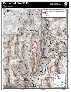 Perimeter map of Cathedral Fire in Zion National Park, Utah, as of  11:30 a.m., July 13, 2015 | Photo courtesy of Zion National Park, St. George News