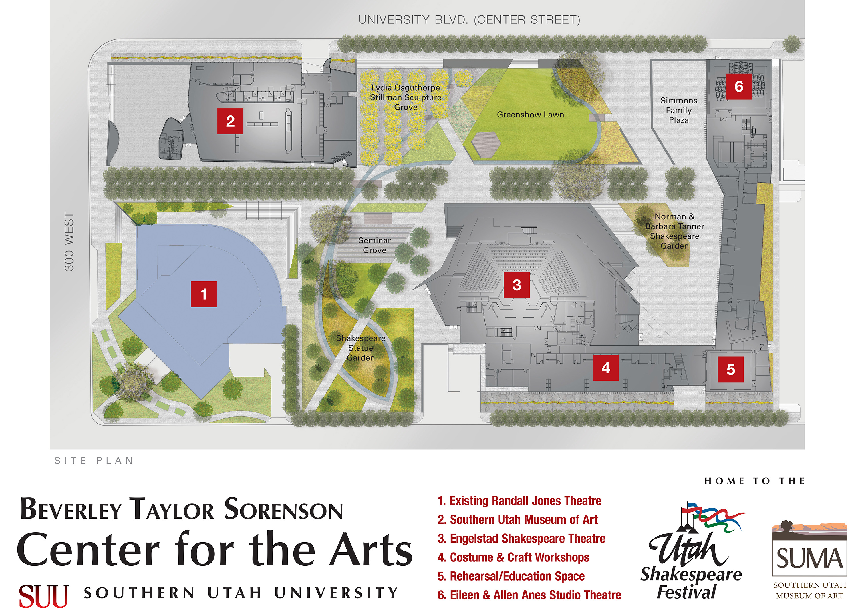 Site map for Englestad Theatre, Beverly Taylor Sorenson Center for the Arts | Rendering courtesy of Utah Shakespeare Festival, St. George News
