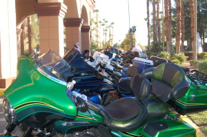 """""""Ride to the 75th"""" tour makes first stop at the CasaBlanca Resort and Casino, Mesquite, Nevada, July 25, 2015 