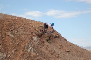 Professional mountain bike racer Logan Binggeli descends a trail in St. George, Utah, July 10, 2015 | Photo by Hollie Reina, St. George News