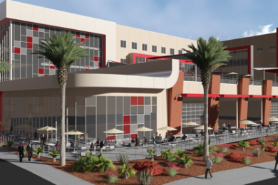 A concept rendering by MRW Design Associates showing what Dixie State University contemplates for a Human Performance, Student Wellness Center. DSU notes that this is not a design rendering.  July 2015   Image courtesy of MRW Design Associates, St. George News