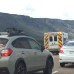 An accident Monday morning shut down traffic on I-15 south of the Kolob Canyon exit, July 6, 2015 | Photo by Devan Chavez, St. George News