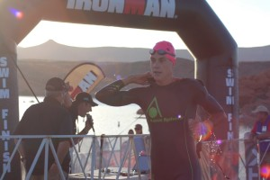 Professional Ironman triathlete and 2015 Ironman 70.3 St. George female winner, Heather Wurtele, exits the water and heads toward the bike transition at the Ironman 70.3 St. George, Sand Hollow Reservoir, Hurricane, Utah, May2, 2015 | Photo by Hollie Reina, St. George News