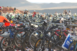 Bike transition zone of the Ironman 70.3 St. George, Sand Hollow Reservoir, Hurricane, Utah, May 2, 2015 | Photo by Hollie Reina, St. George News