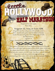 Little Hollywood Half Marathon race flyer, location and date not specified | Photo courtesy Little Hollywood Half Marathon, St. George News