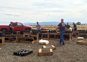Cedar City Fire Department firefighters prep the cannons for Satureday night's fireworks display, Cedar City, Utah, July 4, 2015 | Photo by Carin Miller, St. George News