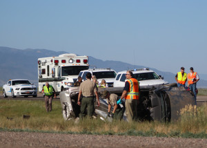 One man is dead and one woman was transported to the hospital via Life Flight after a rollover on northbound Interstate 15 near milepost 88, Iron County, Utah, July 28, 2015 | Photo by Carin Miller, St. George News
