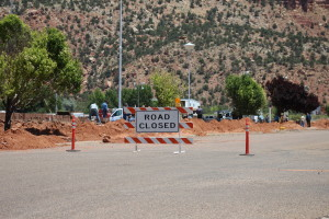 Multiple roads are closed while a wall is built around the Leroy S. Johnson Meeting House, Colorado City, Arizona, July 2, 2015 | Photo by Nataly Burdick, St. George News